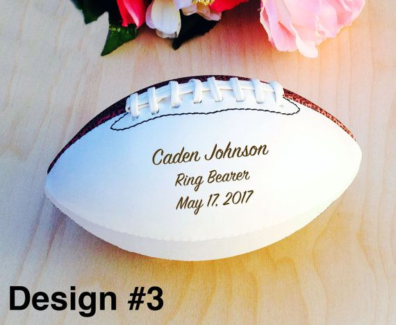 Ring Bearer Gift Engraved Football Mini Football by crimsonking