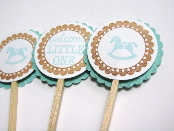 Rocking Horse - Baby Shower Cupcake Toppers - Aqua and Brown - Set of 12 on Etsy, ₱378.15