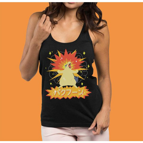 Typhlosion Womens Pokemon Tank Top Pokemon Shirt ($21) ❤ liked on Polyvore featuring tops, black, tanks, women's clothing, racerback tank, racer back shirt, print tops, racer back tops and racer back tank