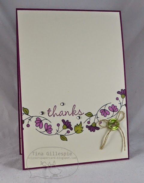 """This floral border stamp was curved slightly to wrap around the sentiment of """"thanks"""". Blendable markers bring the flowers and leaves to life on this handmade card."""