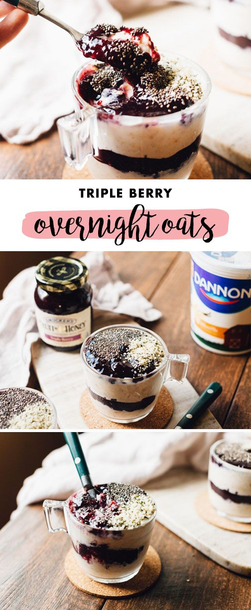 Fruity deliciousness will be ready for you and your family right when you wake up when you make this recipe for Triple Berry Overnight Oats ahead of time. Grab Dannon Lowfat Vanilla Yogurt and Smucker's Triple Berry Fruit and Honey Spread from Kroger to get started on this easy breakfast dish—it's the perfect way to begin your day!