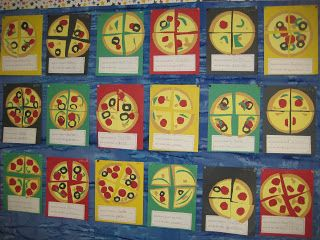 FREE Pizza Fractions Craft {CCSS aligned} Finally in First - integrating numeracy into French?