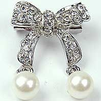 Diamante bow brooch with pearls