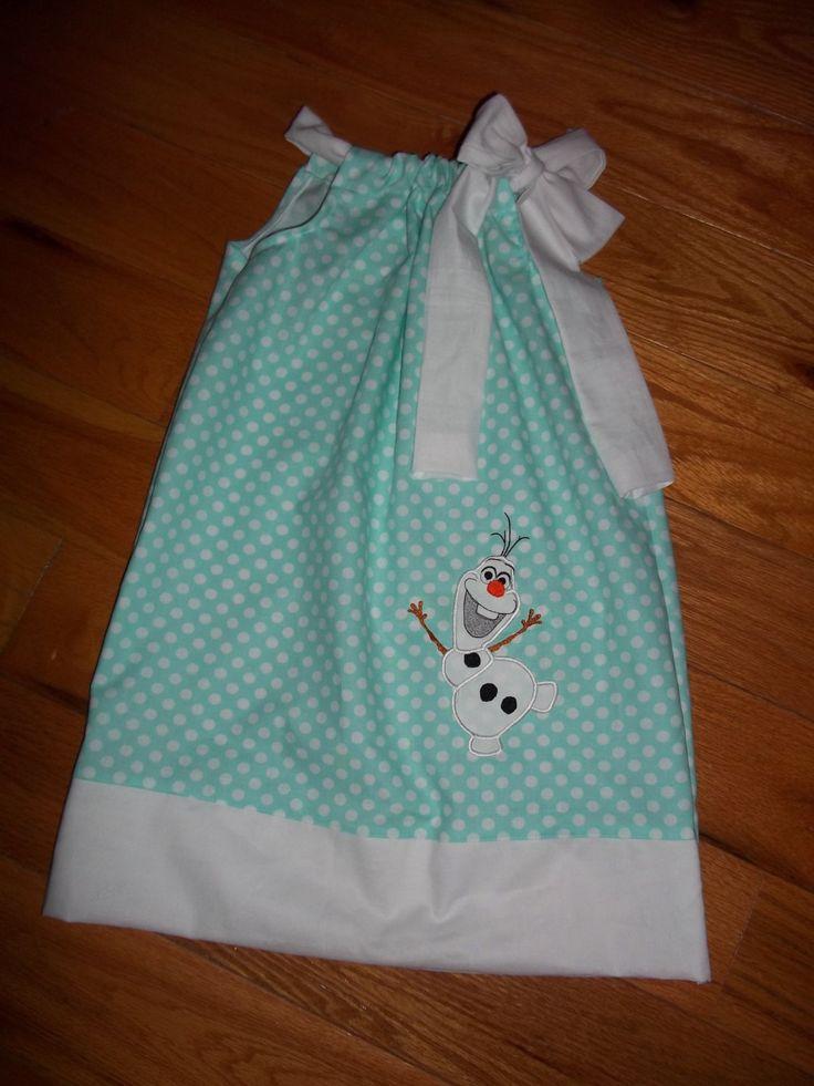 Frozen Olaf birthday dress polka dot pillowcase  elsa girls baby toddler 2t 3t 4t 6 8 by PickleDotsDesigns on Etsy