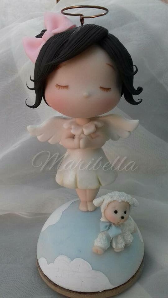 Angelita en porcelana fria topper cake