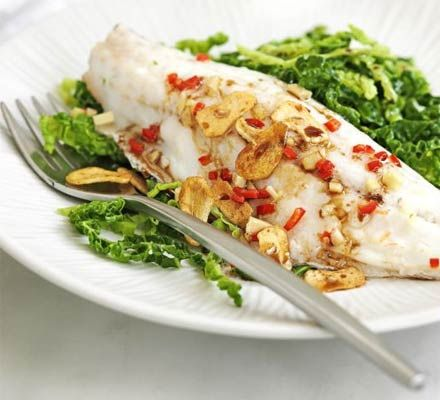 Chinese steamed bass with cabbage    Full of flavour and void of guilt, this low-fat fish dish is full of omega 3 and counts as 1 of your 5-a-day. A perfect mid week meal