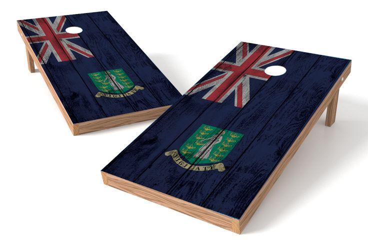 British Virgin Islands Flag Cornhole Board Set-Vintage