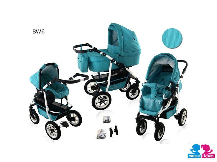 Ein Kinderwagen, der viele Funktionen in sich vereint stellt eine echte Erleichterung für Eltern dar. Hier eine Babywanne, Sportsitz und eine Babschale in einem.  #Kombikinderwagen #Kinderwagen #Buggy   http://www.neo4kids.de/Kinder-Kombikinderwagen-3-in-1-Buggy-Sportkinderwagen-BAVARIO-white-tuerkis-BW6