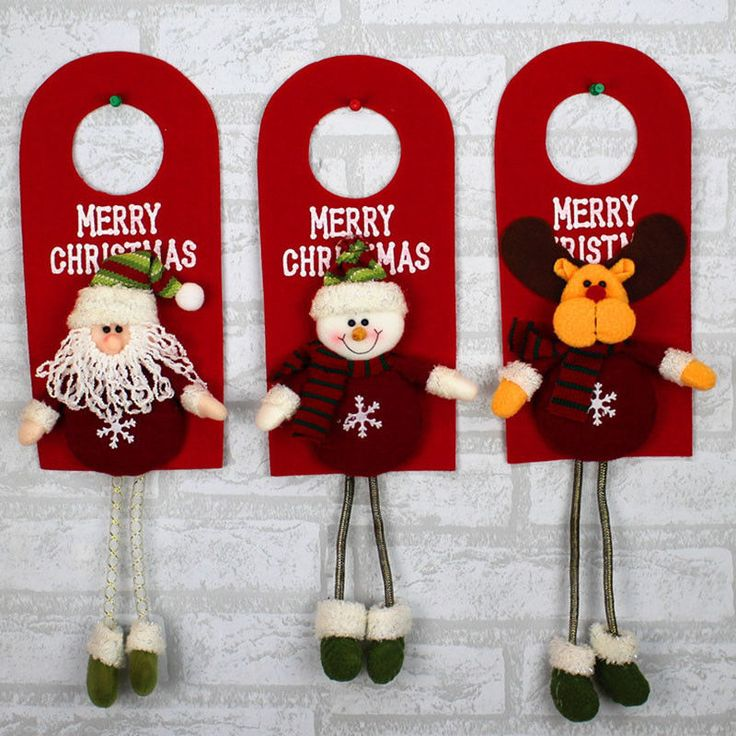 NEW Arrival 3pc Christmas Door Decoration Santa Claus Snowman Reindeer Ornaments