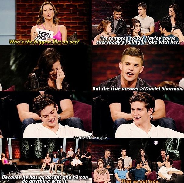 """Who's the biggest flirt on set? """"I'm tempted to say Haley cause everybody's falling in live with her."""" Awwww!"""