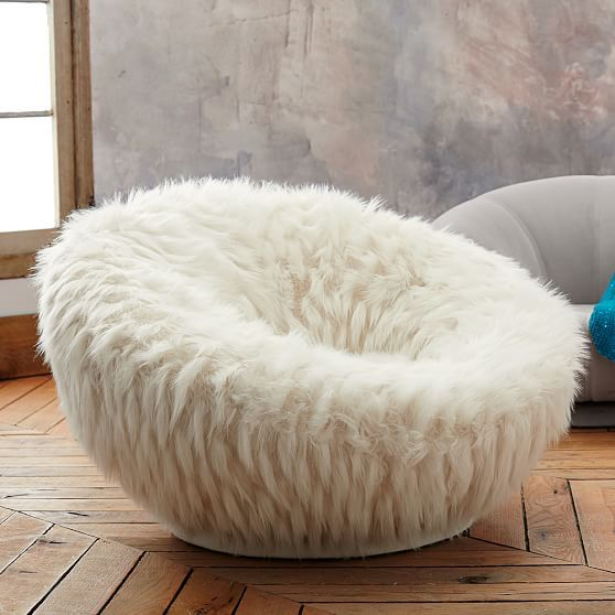 Llama Faux-Fur Groovey Swivel Chair | PBteen