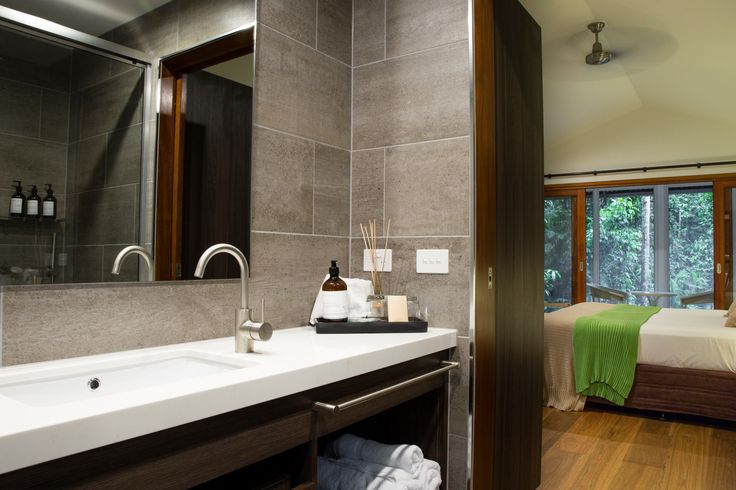 The 'canopy bayan' bathroom with luxurious toiletries at Daintree EcoLodge & Spa, Daintree rainforest, FNQ