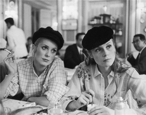 Catherine Deneuve and Francoise Dorleac, 1960s. hat