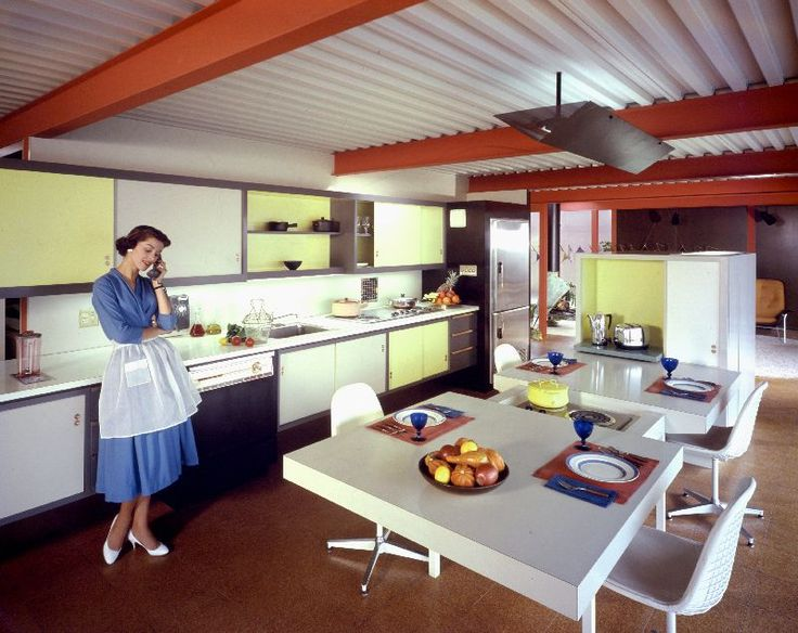 Eichler kitchen design concept open and closed shelving accent colors and cork floor