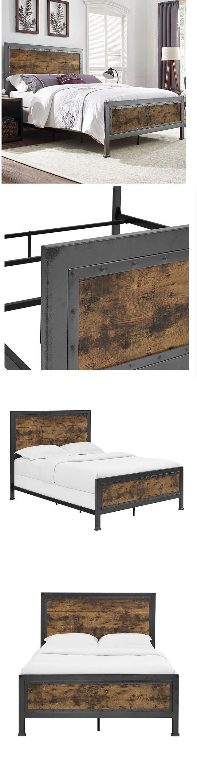 Bedding: Bed Frame Queen With Headboard Rustic Vintage Reclaimed Wood Industrial Bedroom -> BUY IT NOW ONLY: $431.95 on eBay!