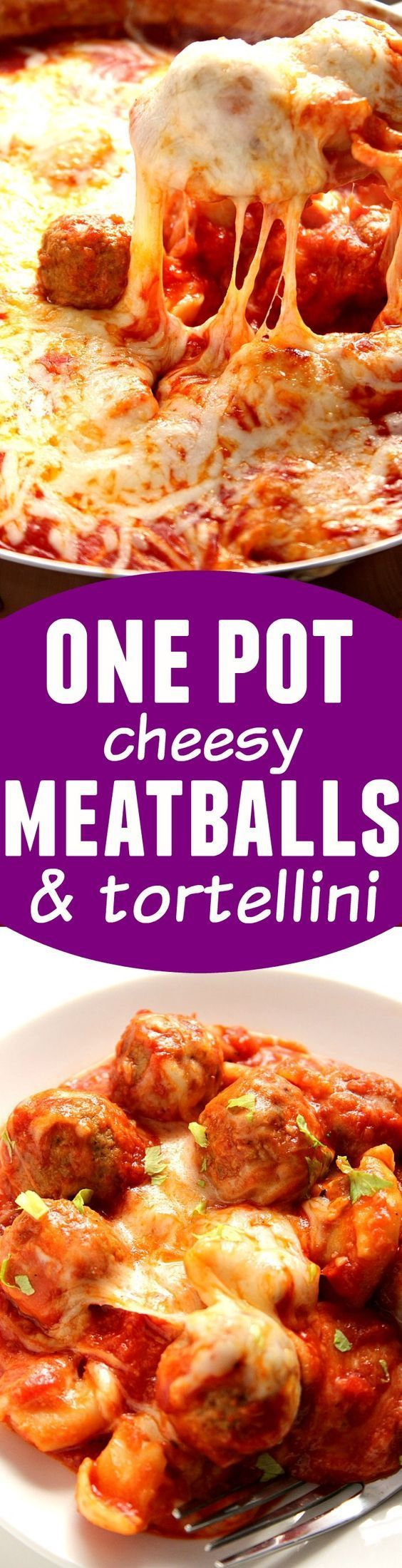 One Pot Cheesy Tortellini and Meatballs Recipe - easy weeknight meal that your family will love! Cheesy, saucy and made with just a few ingredients!