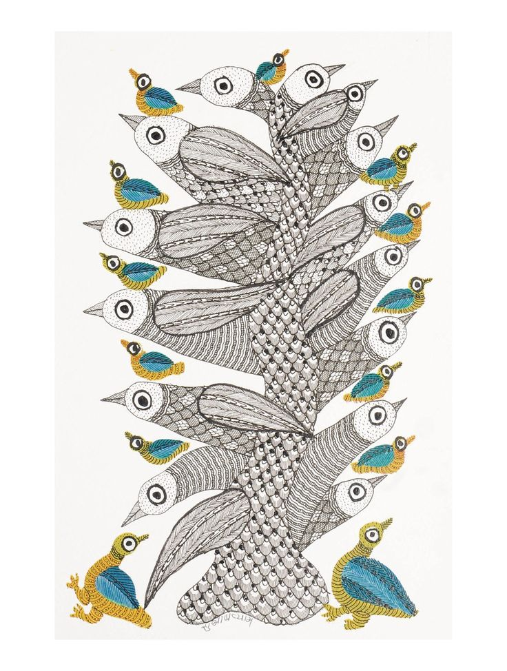 Buy Multi Color Birds Gondh Painting By Subhash Vyam 11in x 7.5in Paper Acrylic Permanent Ink Art Decorative Folk of Good Fortune Tribal Gond from Madhya Pradesh Online at Jaypore.com