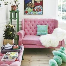 Samt Zweisitzer Sofa Pink von rice