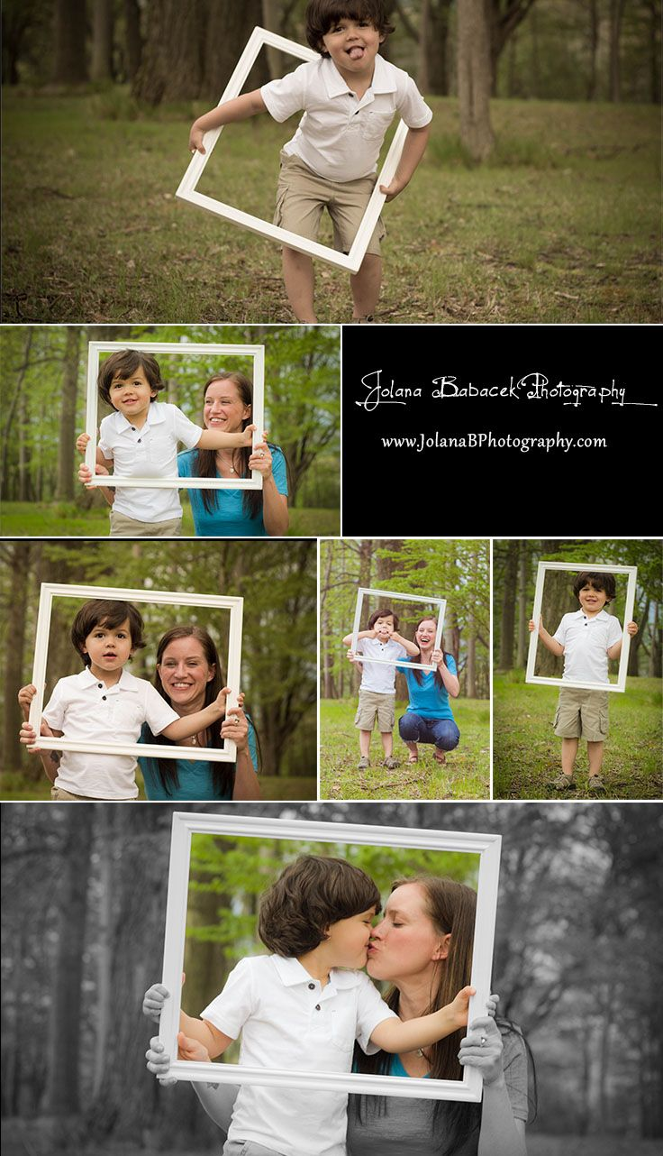 Family Photo Session + Frame: How many different ways can you use a frame do you ask? Well this little guy got really creative! Having fun is what a photo-shoot is all about =) Check out more at: www.JolanaBPhotography.com