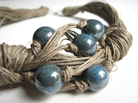 Ceramic Navy Blue   linen necklace by GreyHeartOfStone on Etsy, $28.00