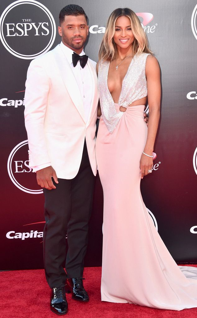 Ciara & Russell Wilson from 2016 ESPYs Red Carpet Couples  Prepare to swoon! The two newlyweds couldn't have looked better at their red carpet debut as husband and wife.