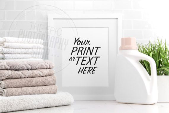 Styled Stock Photography Print Background / Blank Frame / Product Photography / Staged Photography / Beige Towels Detergent Laundry / LR004