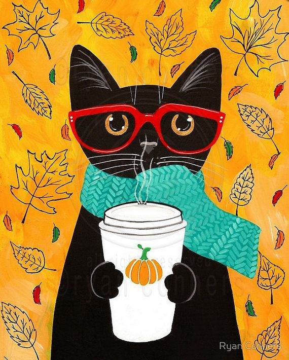 Café calabaza - Cat otoño arte popular impresión 8 x 10, 11 x 14