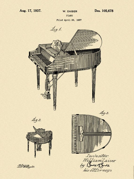 1937 Wurlitzer Piano Patent designed by William Zaiser for the Rudolph Wurlitzer Company. The United States Patent and Trademark office