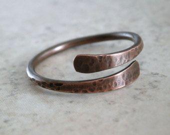 VENTA antiguo anillo de cobre martillado Metal joyería rústica cobre banda cobre texturado anillo orfebrería joyería alambre Simple anillo