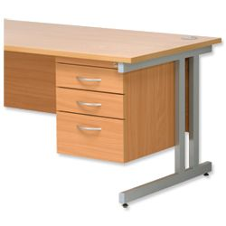 Product 418078, Description: Trexus Fixed Pedestal for Cantilever Desk 3-Drawer W400xD525xH470mm Beech
