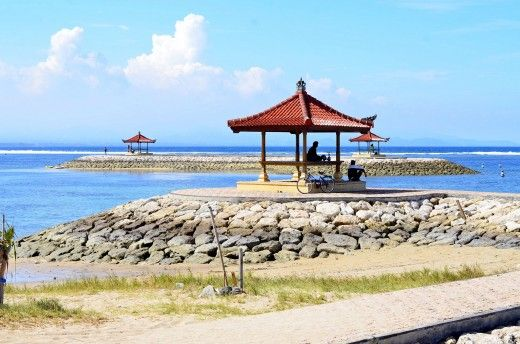 View of the Sanur Beach on the island of Bali, Indonesia.