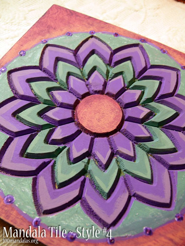 Wood Mandala Tiles ready to paint. This sample was painted using acrylics. Get creative with your favorite color palette. Makes great gifts. $18.50 https://www.etsy.com/shop/TrueNorthArts?section_id=16417751&ref=shopsection_leftnav_4
