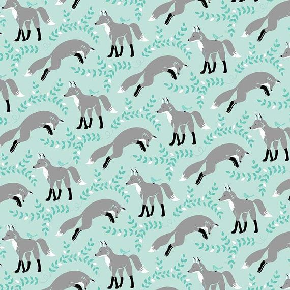 Fox Fabric! Socks the Fox in Aqua by Michael Miller Fabrics  1/2 by Owlanddrum, $5.25