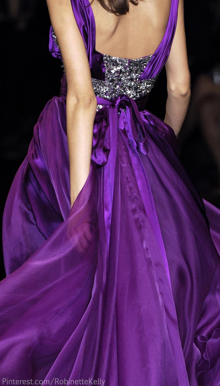 Elie Saab Stunning Long Maxi Purple Evening Dress