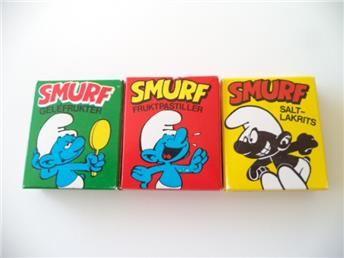3st Tomma Tablettaskar från 80-talet SMURF Ahlgrens