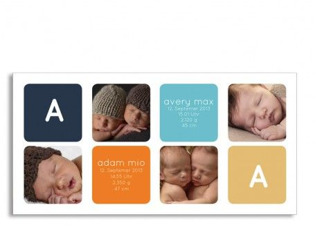 Stilvoll und Pur: unsere Zwillingskarte Ava/Avery.  Auf insgesamt fünf Fotos stellen Sie mit dieser Postkarte Ihre Zwillinge vor. Vier Fotos und die Geburtsdaten Ihrer Babys sind auf der Vorderseite vorgesehen. Auf der Rückseite dieser Zwillingskarte befinden sich ein weiteres Foto und die Möglichkeit, Ihren persönlichen Text einzutragen. Nach Belieben können Sie dort auch Ihre Absenderadresse angeben.