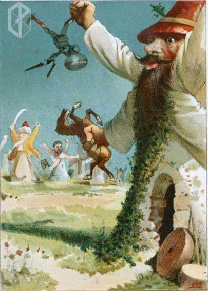 El ingenioso hidalgo don Quijote de la Mancha. Barcelona: Juan Aleu y Fugarull, 1879.  Colour illustrations designed by Apeles Mestres and c...