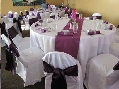 These eggplant table runners and eggplant napkins are in Kono's inventory and available to rent to Kono's clients