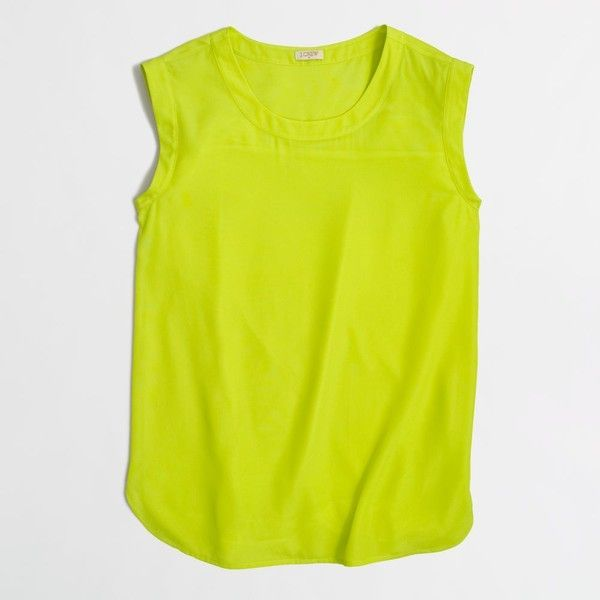 J.Crew Factory drapey sleeveless top ($25) via Polyvore featuring mens, men's clothing, yellow tank top, sleeveless tank tops, yellow top, draped sleeveless top and yellow tank
