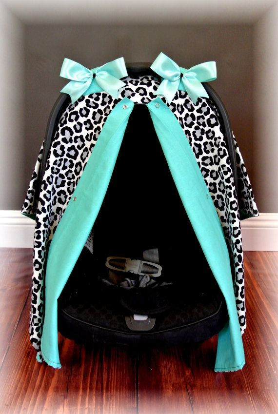 car seat canopy car seat cover cheetah TEAL by JaydenandOlivia