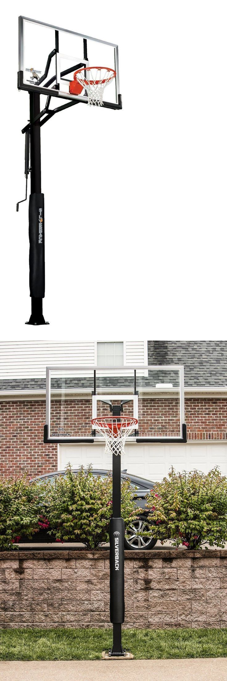 Backboard Systems 21196: Silverback B5401 In-Ground Basketball System - 54 Glass Backboard - Pickup Only BUY IT NOW ONLY: $525.0