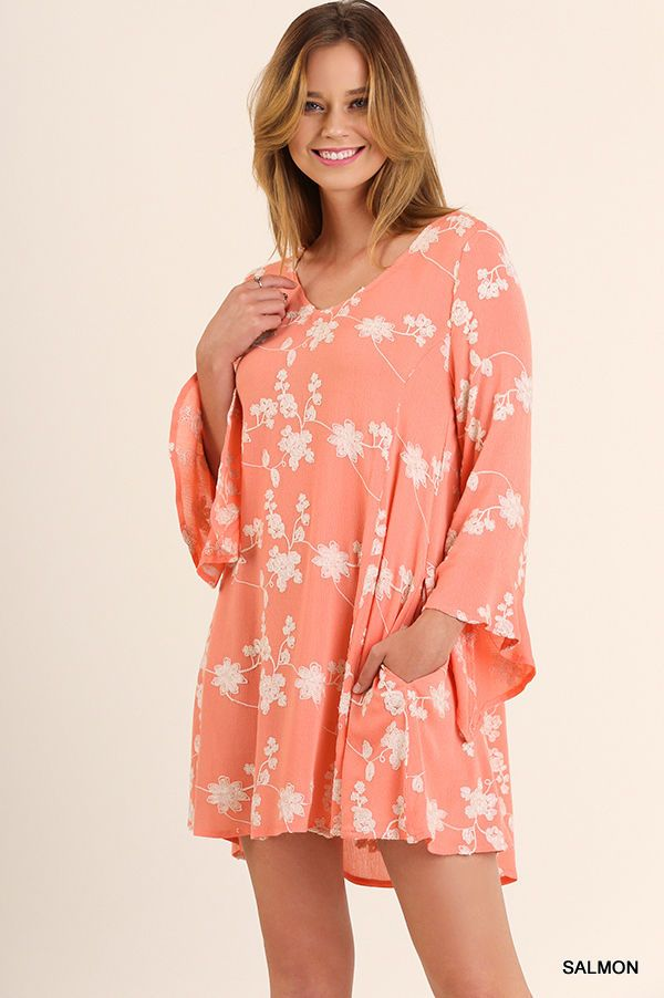 Umgee Bohemian A Line Floral Embroidery Sage Or Salmon Dress- Mini Bell Sleeves