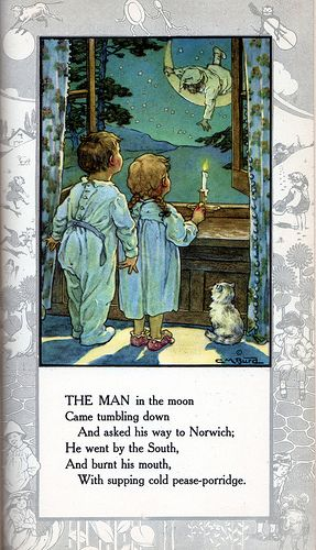 Man in the MoonIllustrations Children, Vintage, Rhymes Children Book, Children Illustration, Nurseries Rhymes, Book Illustration, Artworks Illustration, Man, The Moon