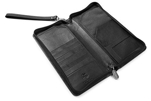 Visconti 1157 RFID Protection Large Leather ZipAround Travel Wallet Planner for Credit Cards Tickets and Passports Black *** You can get additional details at the image link.