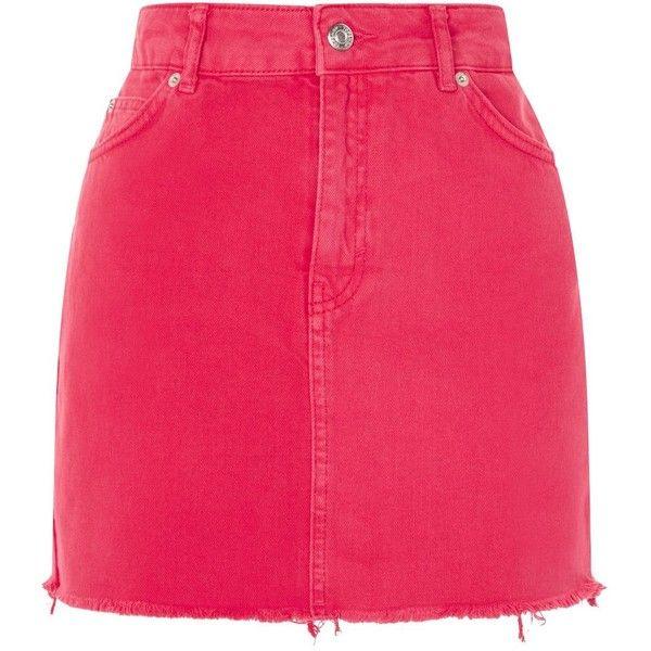 Topshop Pink Denim Mini Skirt ($40) ❤ liked on Polyvore featuring skirts, mini skirts, topshop, short pink skirt, short mini skirts, denim miniskirt, pink mini skirt and denim skirt