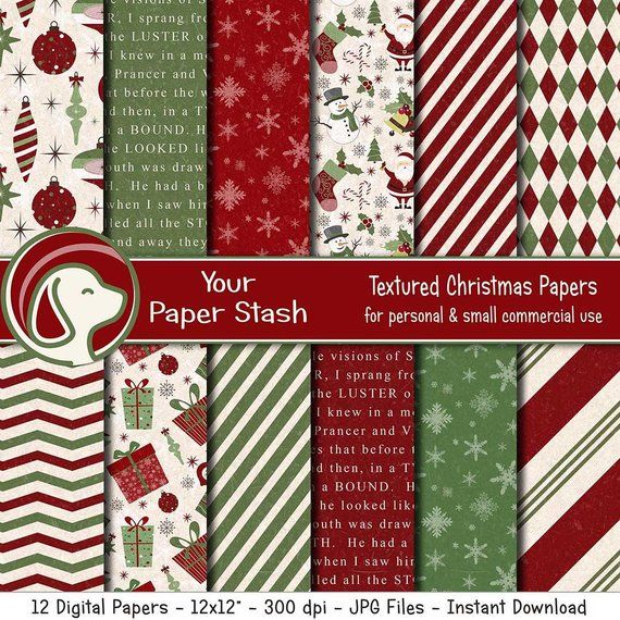 Christmas Scrapbook 2020 Textured Christmas Digital Scrapbook Papers Old Fashioned | Etsy