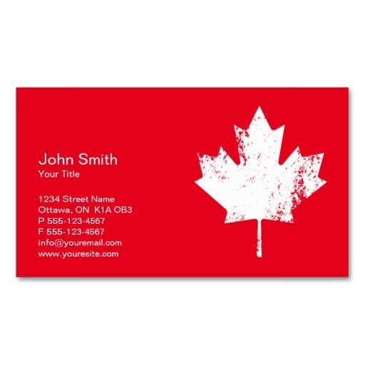 Customized Canada business cards - White Maple Leaf for Canada related business. Elegant business cards design with white grunge Canadian flag maple leaf.