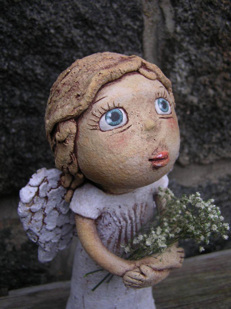 Andělka (na objednávku) Keramická soška, výška 28 cm. Na objednávku můžu zopakovat.