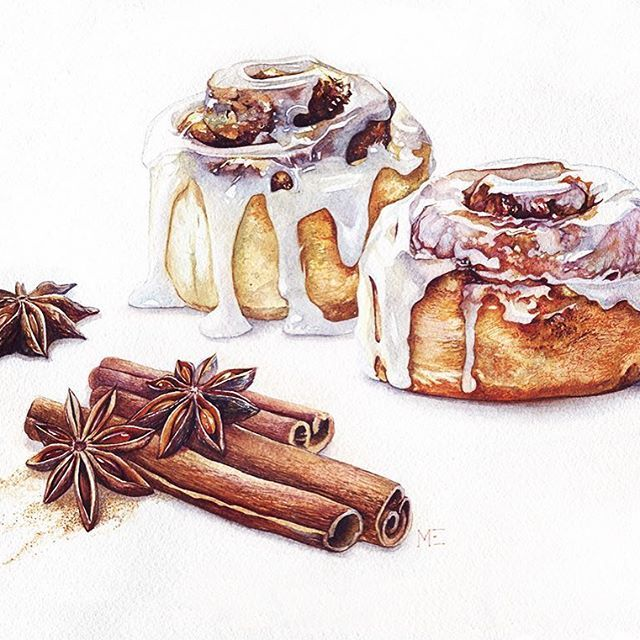 Drawing cardamon and bun