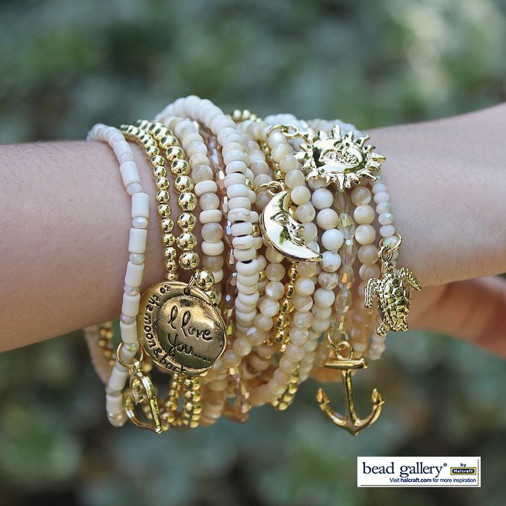 DIY Shore Bracelet stack by @dyezbakmoore featuring Bead Gallery beads available at @michaelsstores #madewithmichaels